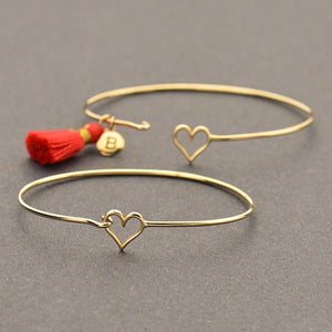 Heart Hook and Eye Bracelet - Natural Bronze
