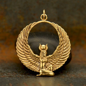 Egyptian Winged Goddess Pendant Necklace - Natural Bronze