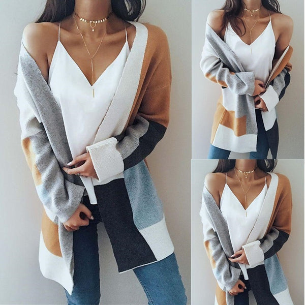 Long Sleeve Geometric Shapes Print Splicing Knit Cardigans for Women