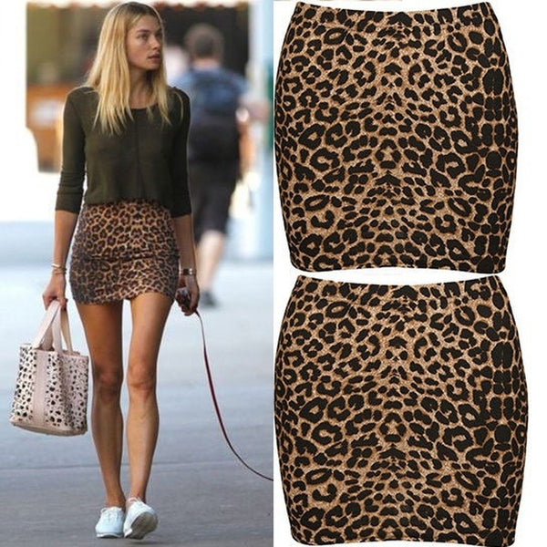 Women Fashion Short Bandage Leopard Printed Sexy Pencil Mini Skirts Dresses