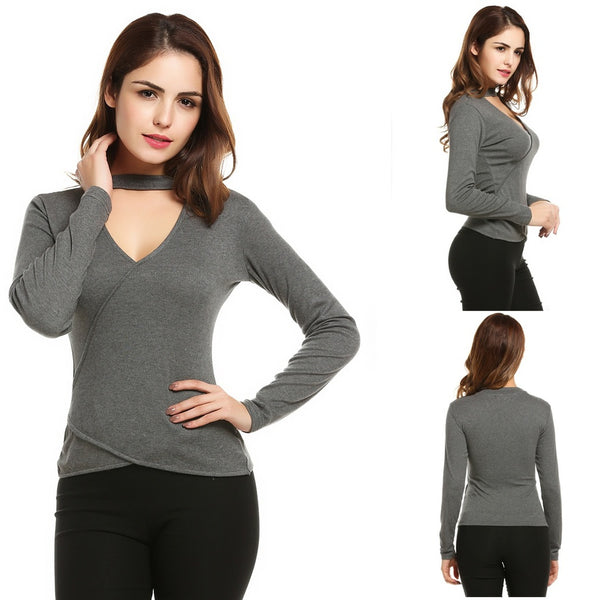 Women Faux Wrap Cut Out V-Neck Long Sleeve Solid Slim Fit Blouse Tops