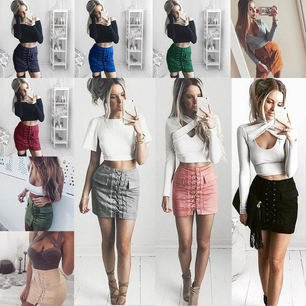 Sexy Womens Lace Up Suede Leather Skirt High Waist Bodycon Pencil Skirt