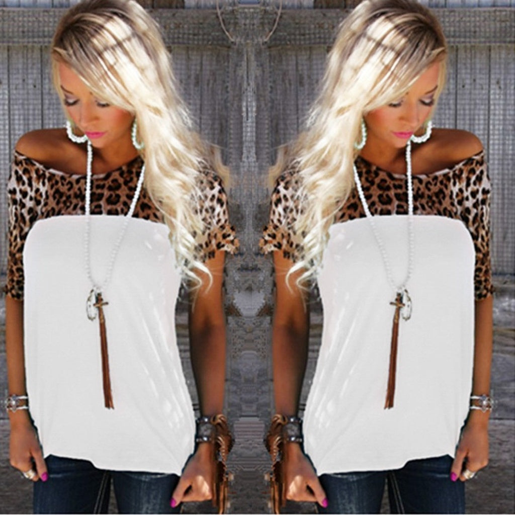 The New Summer Dress and Short Sleeved T-shirt Jacket Leopard Splicing