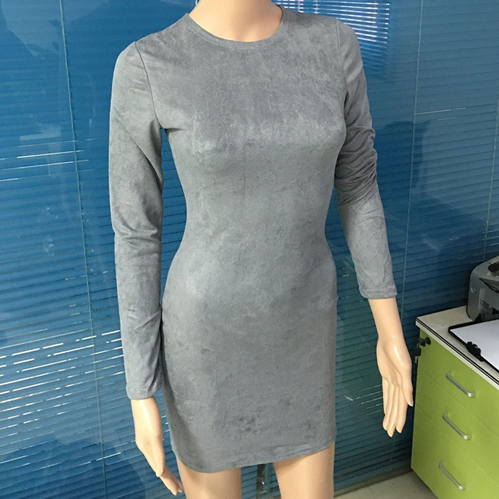 Women FAUX SUEDE Bandage Long Sleeve Sexy Party Bodycon Casual Women's Clubwear Mini Vestidos