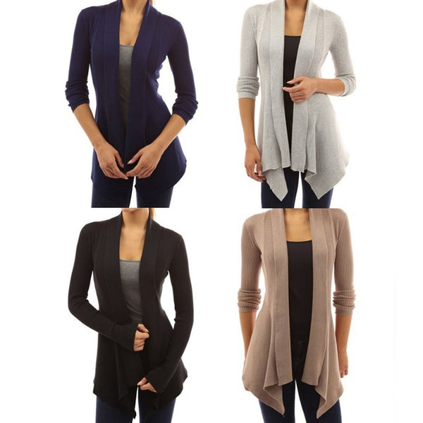 New Fashion Women Casual Thread Long Sleeve Patchwork Cardigan Sweater Open Front Coat