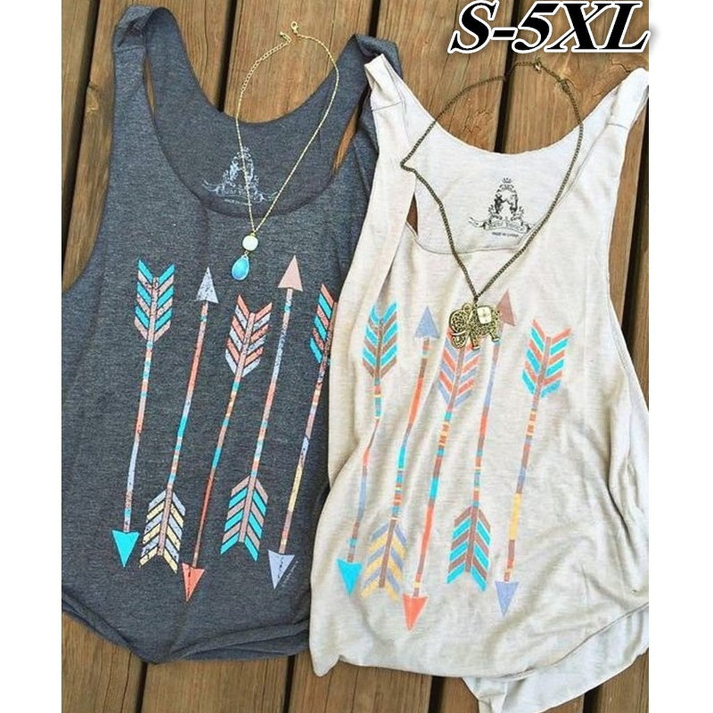 Bestfriends Shirts Women Casual Arrow Head Print Vintage Multicolor Tank Tops Cotton T-shirt Sleeveless Grey/White