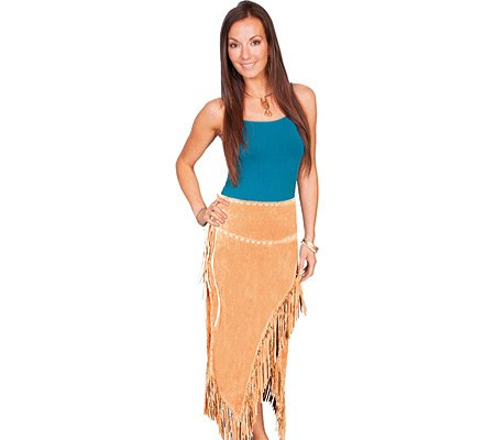 Scully Women's Asymmetrical Fringe Suede Leather Skirt - L659-19