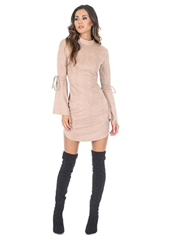 AX Paris Women's Faux Suede Flared Sleeve Dress