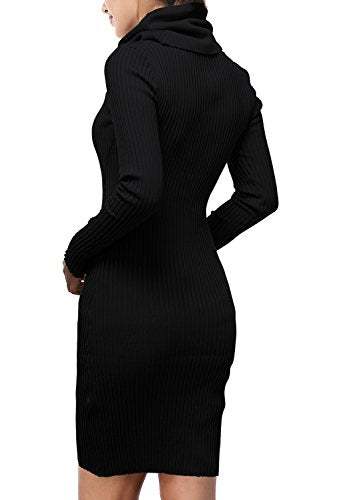 DJT Womens Slim Fit Cowl Neck Long Sleeve Knit Sweater Dress