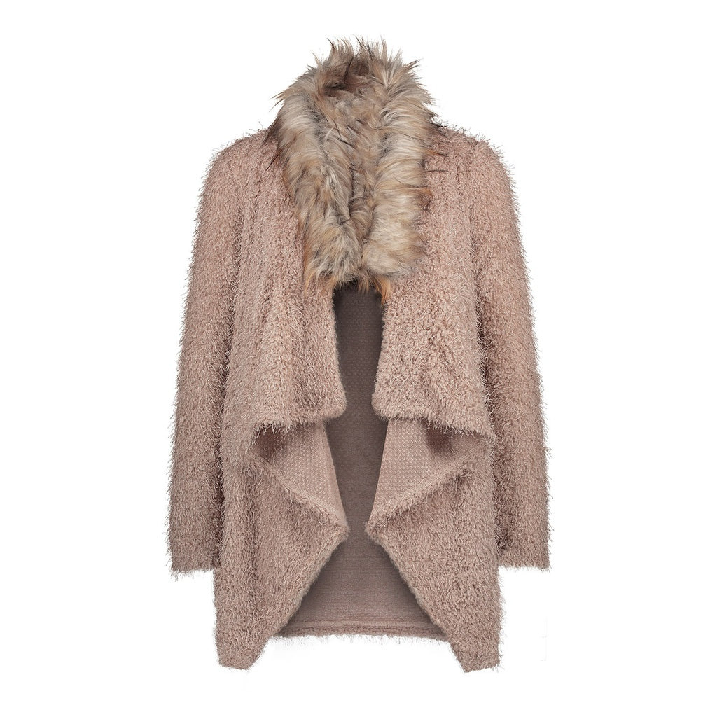 2018 Women Fashion Spring and Autumn Fur Collar Cardigan Long Sleeve Casual Plush Windbreaker Jacket Coat