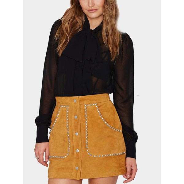 Yellow Suede Studded Mini Skirt