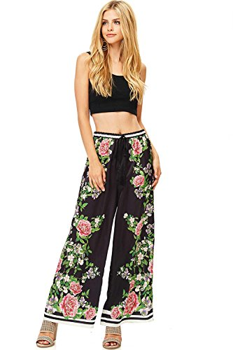 Flying Tomato Women's Juniors Satin Wide Leg Floral Print Pants