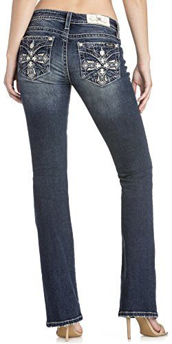 Miss Me Women's Chloe Fleur-de-lis and Cross Embellished Mid-Rise Boot Cut Jeans