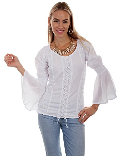 Scully Western Shirt Womens L/S Puff Sleeve Scoop Neck Lacing PSL-222