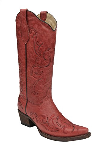 Corral Circle G Women's Red Scroll Embroidery Designed Red Leather Cowgirl Boots