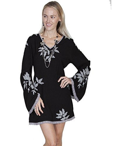 Scully Womens Eda Embroidered and Lace Trim Dress