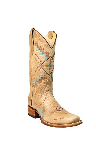 Corral Circle G Women's 12-inch Bone Southwest Embroidery Square Toe Pull-On Distressed Cowboy Boot