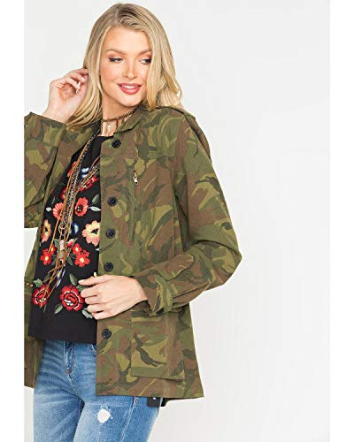 Miss Me Women's Mm Vintage Camo Embroidered Jacket - Vj113