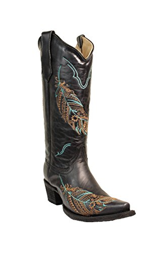 Corral Circle G Women's 14-inch Black Turquoise/Tan Feather Embroidery Snip Toe Pull-On Cowboy Boots - Sizes 5-12 B