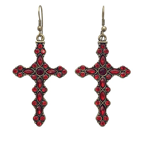 Red Rhinestone Burnished Gold Tone Western Look Dangle Cross Earrings
