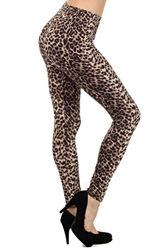 Always Women's Juniors Full Length Brown Leopard Print Stretch Leggings