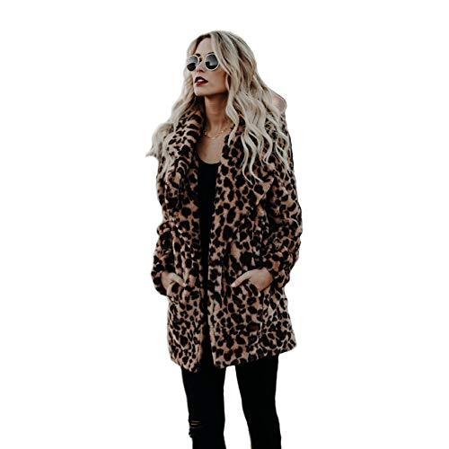 XIANIWTA Women's Winter Long Sleeve Coat Faux Fur Overcoat Plus Size Fluffy Top Jacket Leopard