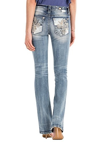 Miss Me Floral Infuse Patched Cross Mid Rise Light Wash Boot Cut Jeans Womens M3188B