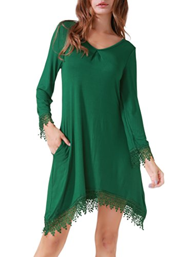 Invug Women Casual Soft Long Sleeve Pockets Lace Stretchy Swing T-shirt Dress