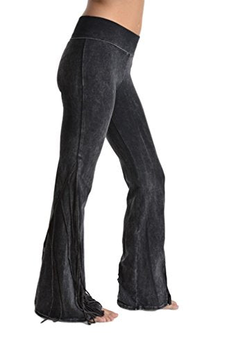 T Party Fringe Yoga Pants Black Mineral Washed Fold Waist