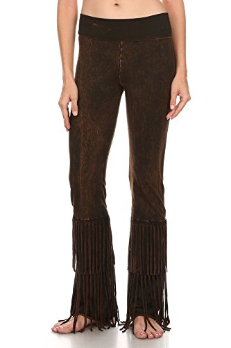 T Party Womens Faded Tie Dye Print Full Length Relaxed Fit Pants with Low Banded Waist and Fringe Trim.