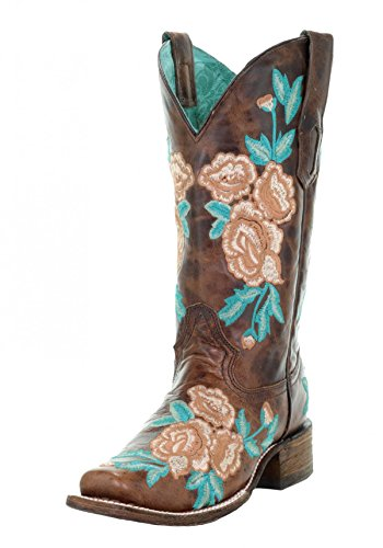 Corral Womens Chocolate Floral Embroidery Square Toe Boots
