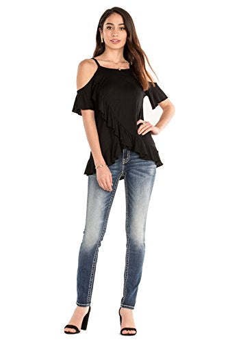 Miss Me Women's Metallic Embroidered Back Pocket Skinny Jeans