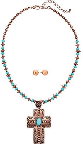 M&F Western Womens Copper Turquoise Beaded Cross Necklace/Earrings Set
