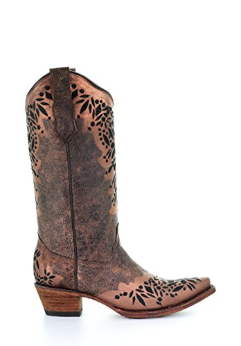 Corral Circle G Women's Black Embroidery Snip Toe Leather Cowgirl Boots - Shedron