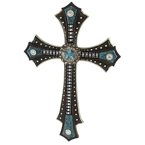 Pine Ridge Western Style Turquoise Star Centerpiece Wall Cross - Intricate Leather Design Celtic Crucifix with Metal Accents - Brown Leather Crucifix Beautifully Hand-painted and Crafted