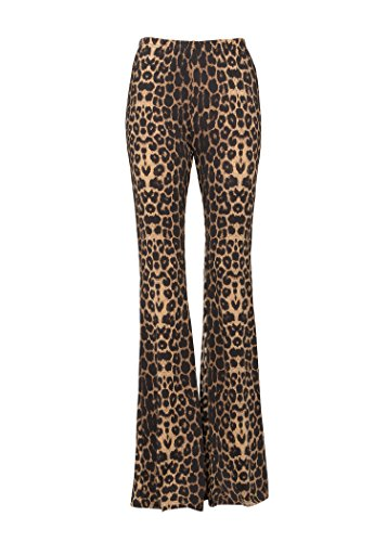 Glam and Gloria Womens Leopard Cheetah Flared Bell Bottom Pants