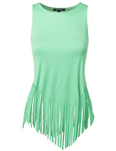 Awesome21 Women's Solid Fringe Muscle Tank Top