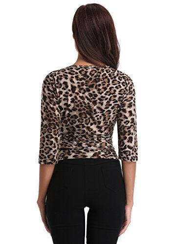 MISS MOLY Women's Leopard Print Shirt Half Sleeve Deep V Neck Sexy Tie Front Wrap Crop Blouse Tops