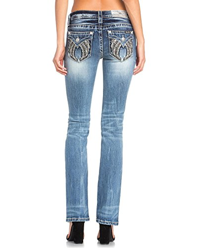 Miss Me Women's Studded Wing Slim Boot Cut Jeans - M3190sb-M521