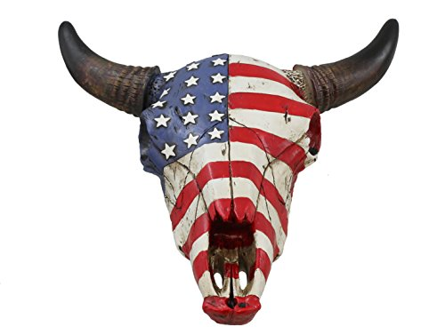 USA Flag Faux Steer Bull Cow Skull - Wall Mount Head - Rustic Western American Art Decor