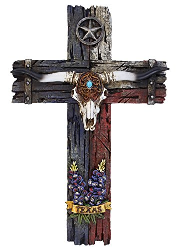 Cross with Longhorn, star and bluebonnet