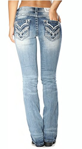 Grace in LA Mid Rise Easy Boot Faux Flap Pocket Bootcut Stretch Jeans