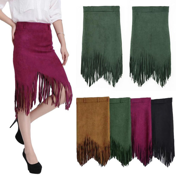 Trendy Women Skirt Faux Suede Tassel Fringe High Waist Asymmetric Slim Fashion Skirt Dress