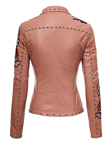 Made By Johnny MBJ Womens Floral Embroidered Faux Leather Motorcycle Biker Jacket