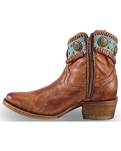 CORRAL Women's Turquoise Fringe Ankle Boot Round Toe - A3196