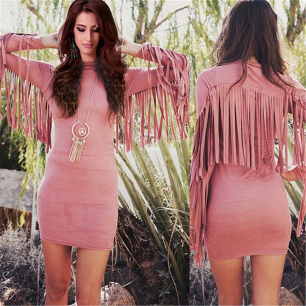 Women Sexy Fringe Tassel Dress Long Sleeve Slim Bodycon Dress