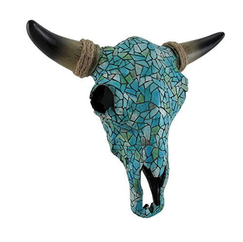 Zeckos Resin Wall Sculptures Mosaic Turquoise Steer Skull Wall Hanging 11 X 10 X 4 Inches Turquoise