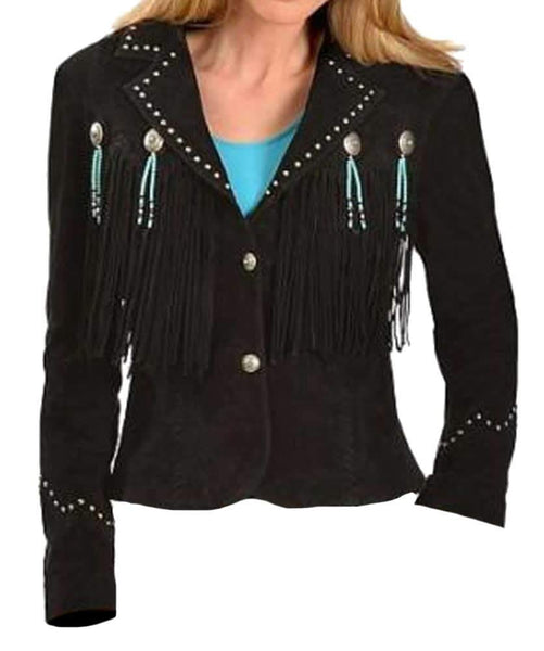 Bestzo Women's Fashion Cowgirl Western Fringed Jacket Suede Leather Black
