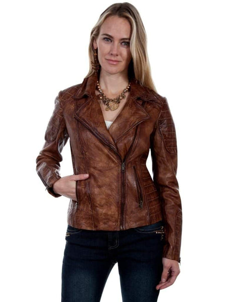 Scully Ladies Quilted Brown Leather Jacket