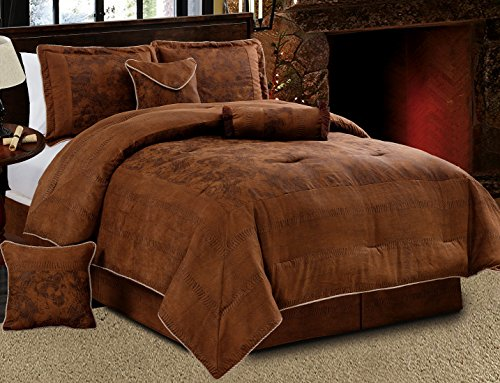"Grand Linen 7 Piece Dark Brown Embossed Faux Suede Paisley comforter set Oversize (106""X 94"") California King Size Bedding"